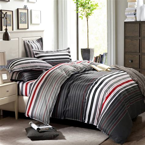 queen bedroom comforter sets grey and red stripes printing 4pc bedding set queen bed