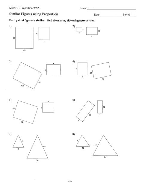 Similar Figures Worksheet 7th Grade by Similar Shapes Worksheet Worksheets Releaseboard Free