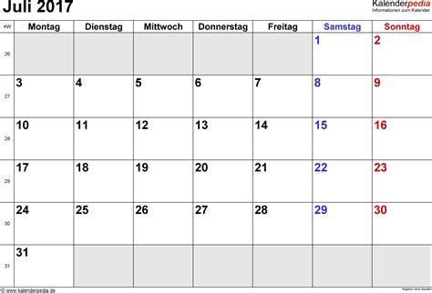 Juli Kalender 2017 Kalender Juli 2017 Als Excel Vorlagen