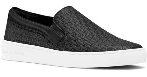 michael kors slip on sneakers michael kors colby leather slip on sneaker in black lyst