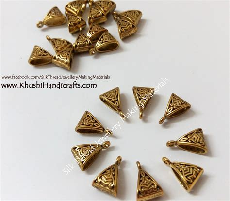 Handmade Jewellery Materials - high quality antique gold triangular bail bails khushi