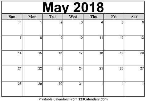 printable calendar for may 2018 may 2018 calendar printable larissanaestrada com