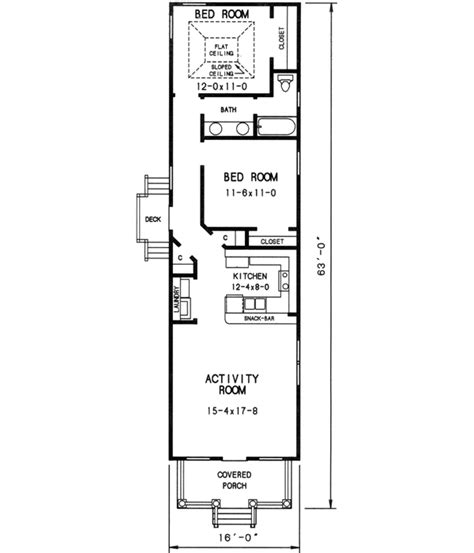 Cottage Style House Plans 912 Square Foot Home 1 Story 2 Bedroom House Plans For Narrow Lots