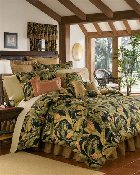 Tropical Comforter Sets King by 10pc Lush Green Orange Black Tropical Plant 100 Cotton