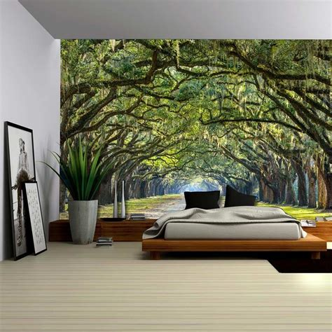 wall murals for rooms pathway in an arch tree covered forest wall mural 100x144 inches ebay