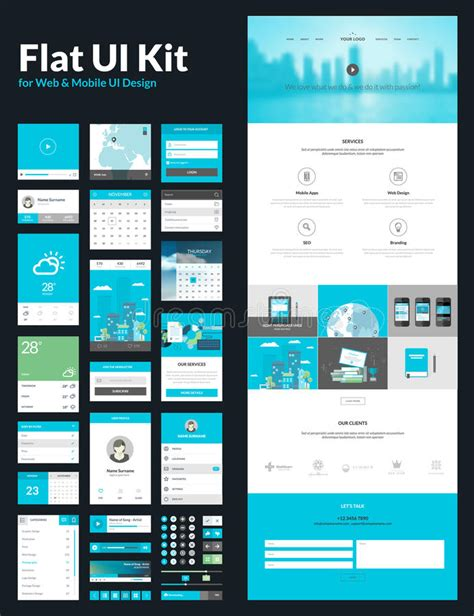 flat ui design templates one page website design template stock vector