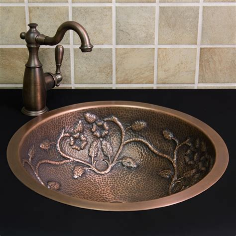 hammered metal bathroom sinks 18 quot flower vine hammered copper sink drop in sinks