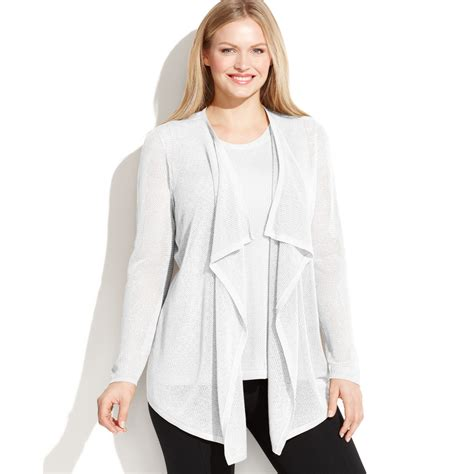 plus size draped cardigan calvin klein plus size openknit draped cardigan in white
