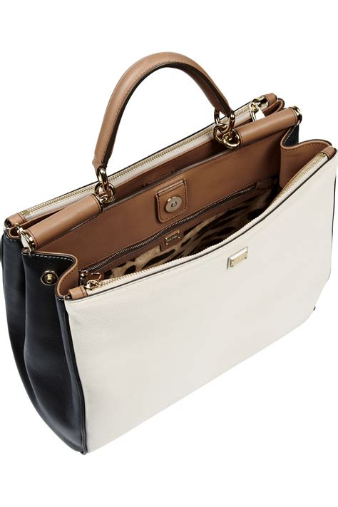 Dolce Gabbana Lavender And Ivory Purse by Lyst Dolce Gabbana The Sicily Large Leather Tote In White