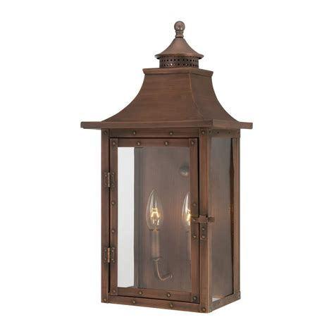 Copper Outdoor Lights Shop Acclaim Lighting St Charles 19 5 In H Copper Patina Outdoor Wall Light At Lowes