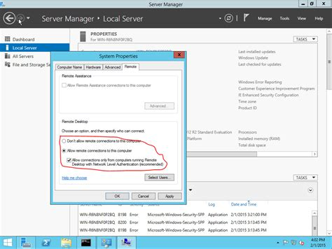 themes disabled remote desktop connection settings enable remote desktop on new windows 2012 vm geekdecoder
