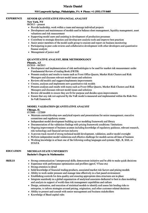 quantitative analyst resume resume ideas