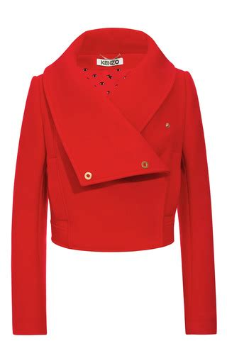 Crop Jaket Mo wool blend cropped jacket with oversize collar by moda operandi
