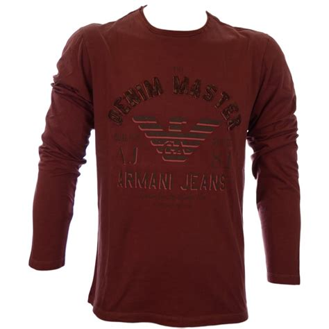armani jeans pattern shirt burgundy armani jeans regular fit full sleeve burgundy t shirt
