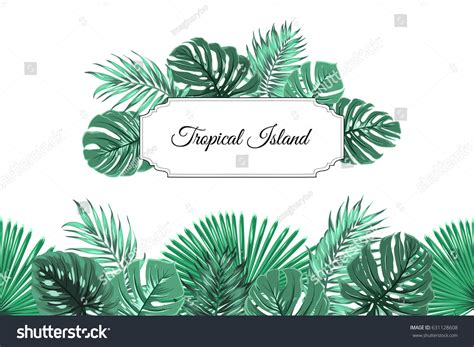Island Kitchen Bremerton seamless horizontal borders with tropical vector clipart