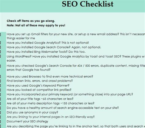 seo checklist template seo checklist template