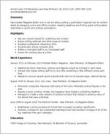 Resume Sle For News Editor Professional Magazine Editor Templates To Showcase Your Talent Myperfectresume
