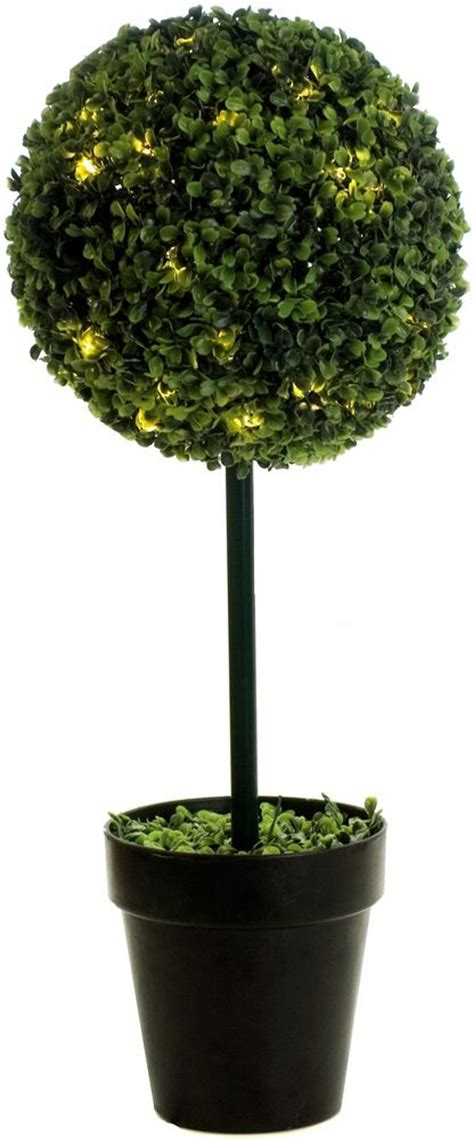 artificial boxwood single ball topiary tree with led