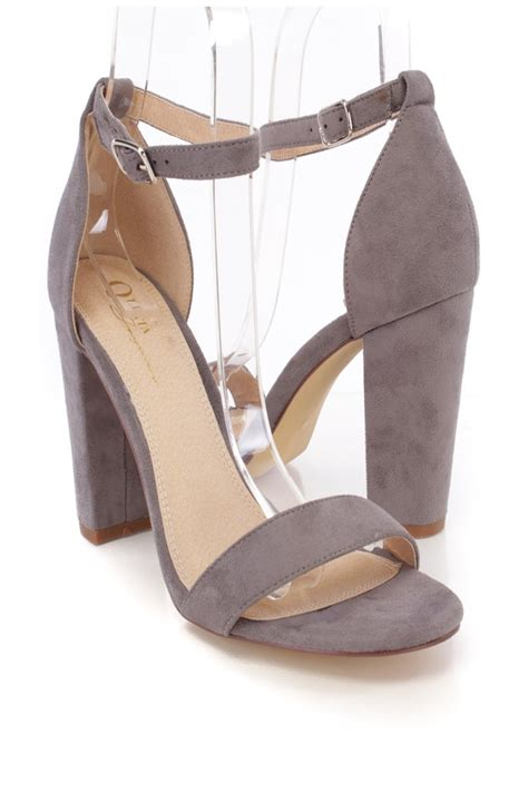 grey suede high heel shoes light grey suede open toe one chunky high heels