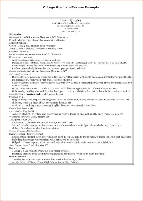 Resume Objective For New College Graduate by Recent College Graduate Resume Objective Exles