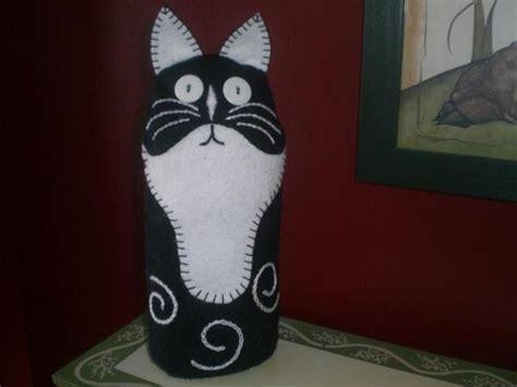 cat door stopper pattern kitty cat doorstop wee folk art