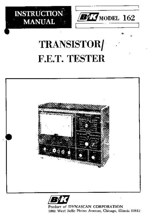 fet transistor manual b and k 162 transistor fet tester service manual free schematics eeprom repair info