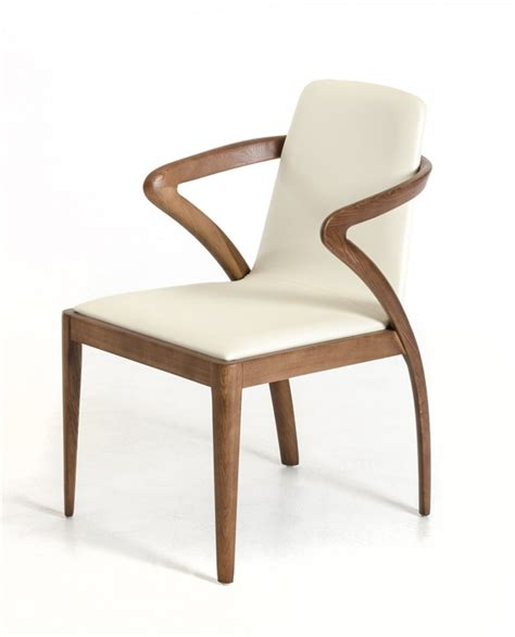 Modrest Falcon Modern Walnut And Cream Dining Chair Dining Chair Modern