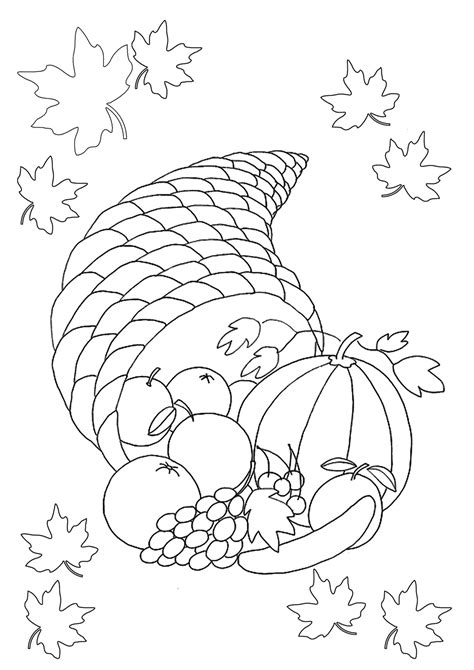 horn of plenty coloring page az pages sketch coloring page