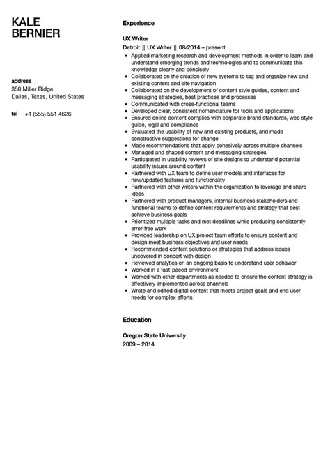 ux writer resume sle velvet jobs