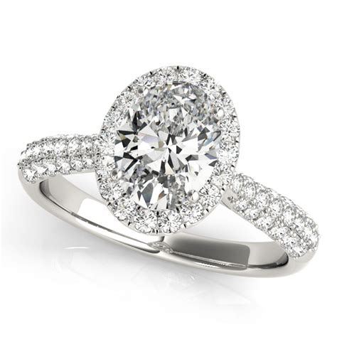 oval cut halo pave engagement ring 14k white gold