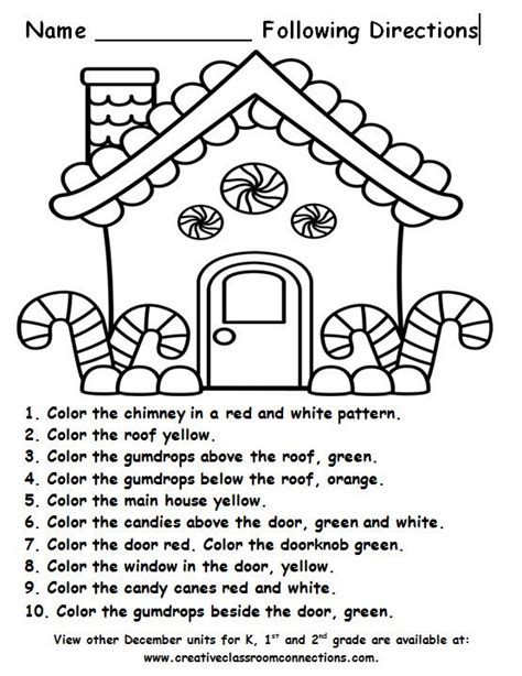 free printable following directions activities free gingerbread house for a following directions activity