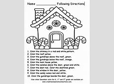 Free Gingerbread House for a following directions activity ... Following Directions Activity For Adults