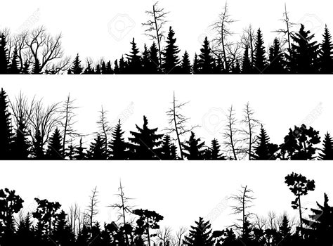 forest silhouette tattoo set of vector horizontal silhouettes coniferous treetops