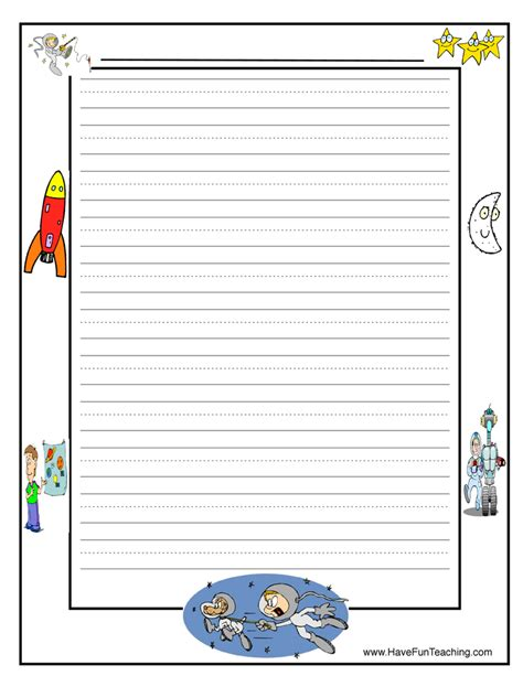 printable journal paper with picture space space writing paper have fun teaching