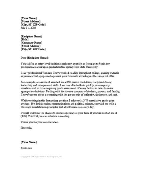 Entry Level Cover Letter Template by Entry Level Cover Letter Word 2003 Or Newer