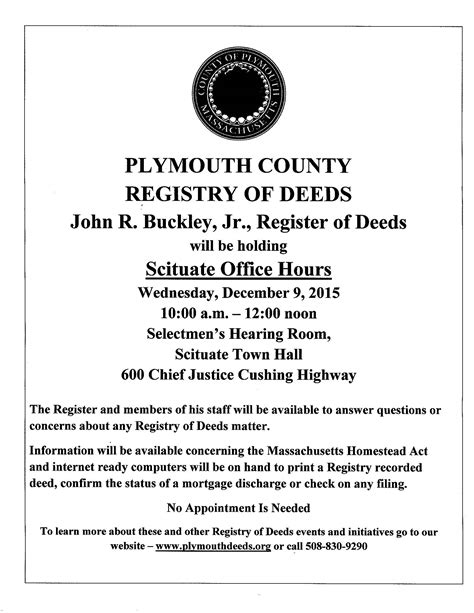 plymouth county ma registry of deeds registry of deeds scituate office hours 12 9 15 scituate ma