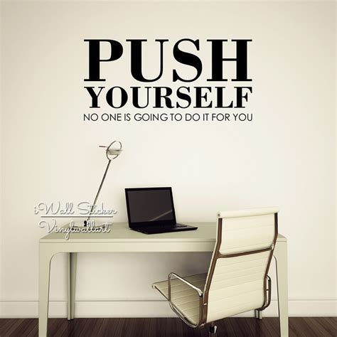 Inspirational Quotes Wall Stickers aliexpress com buy push yourself quote wall sticker