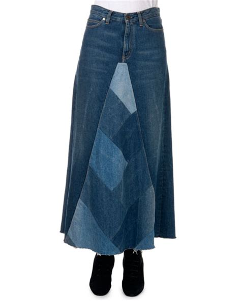 Denim Patchwork Skirt - laurent denim patchwork a line maxi skirt