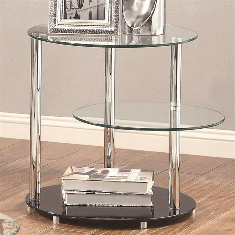 silver and glass end tables coaster 702707 silver glass end table a sofa