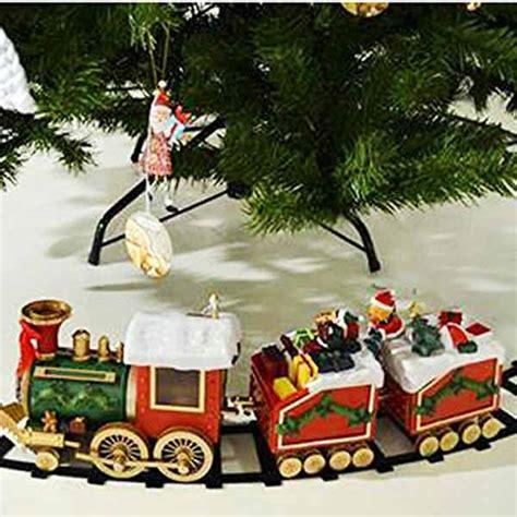 piedistallo per albero di natale trenino natalizio con doni di babbo natale per decorare la
