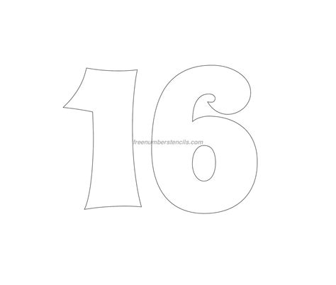 number 16 template free groovy 16 number stencil freenumberstencils