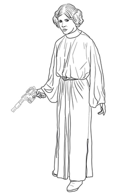coloring pages princess leia princess leia coloring page supercoloring com