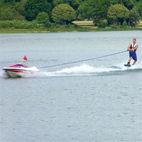 rc boats on water the skier controlled tow boat hammacher schlemmer