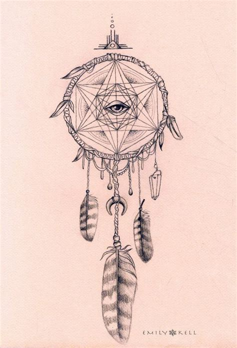 geometric dreamcatcher tattoo owl magic shipibo dream catcher visionary art print