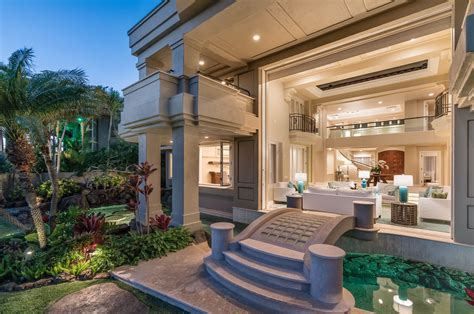 home design diamonds oceanfront home in honolulu with stunning architectural details and lush tropical landscaping