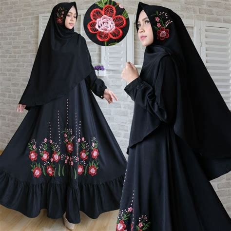 Baju Muslim Syar I Warna Hitam Baju Gamis Syari Woolpeach Bordir Busana Muslim Modern