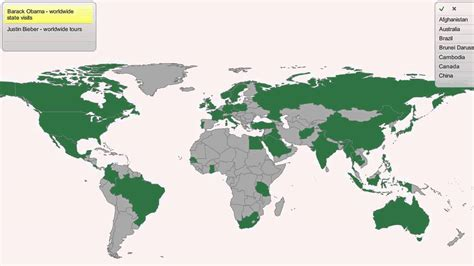 world map cities visited barack obama vs justin bieber no of visited countries