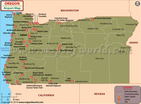 oregon map usa airports in oregon oregon airports map