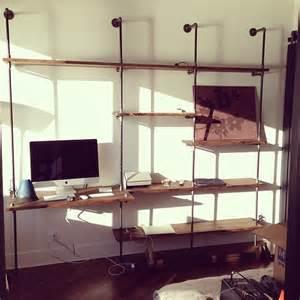 custom wall shelving custom pipe shelving with desk