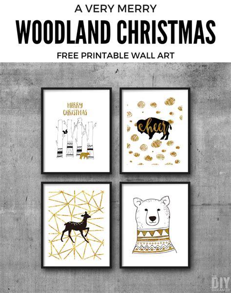diy free printable wall art a very merry woodland christmas printable wall art
